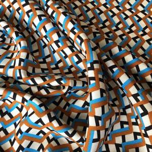 Zigzag Blue/Brown Viscose Dress Fabric