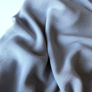Crinkled Viscose Light Grey Dress Fabric