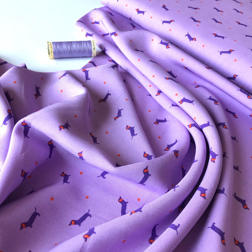 Dachshund Lilac Viscose Dress Fabric