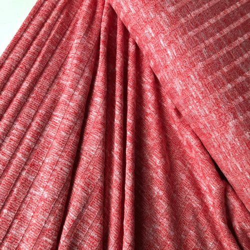 Melange Red Wide Rib Knit Fabric