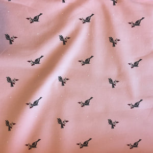 REMNANT 1.32 meters Delicate Birds Organic Cotton French Terry - Pink