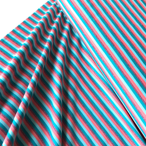 Metallic Small Multi Stripe Green/Aqua/Coral Cotton Jersey
