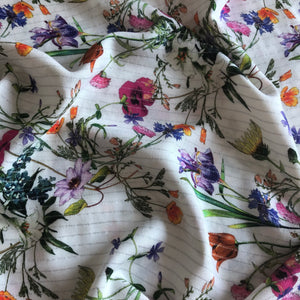 Wild Flower Sparkle White Rayon / Viscose