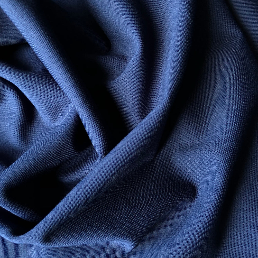 REMNANT 0.88 meter Navy Viscose Modal Ponte Roma Knit Fabric