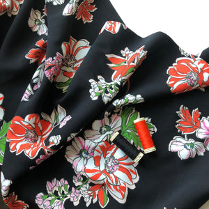 Floral Night Rayon / Viscose (Black)
