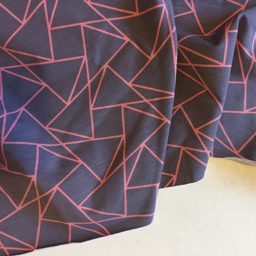 Kaleidoscope Grey and Pink - Cotton Jersey