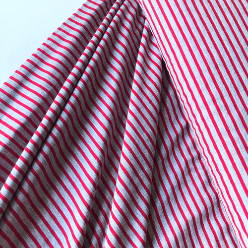 Grey with Red Small Stripe Cotton Jersey
