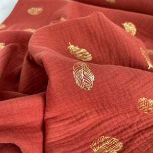 Foil Feathers Terracotta Cotton Double Gauze