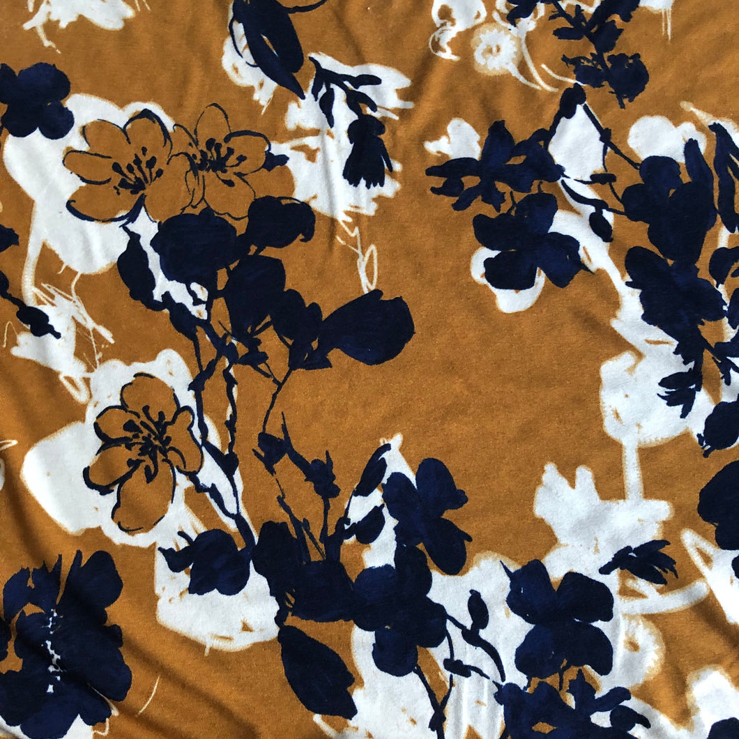 Blooms of Mustard Viscose Jersey