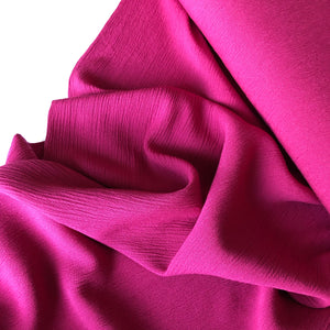 REMNANT 0.74 meter Crinkled Viscose Pink Dress Fabric