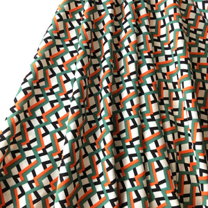 Zigzag Green/Orange Viscose Dress Fabric