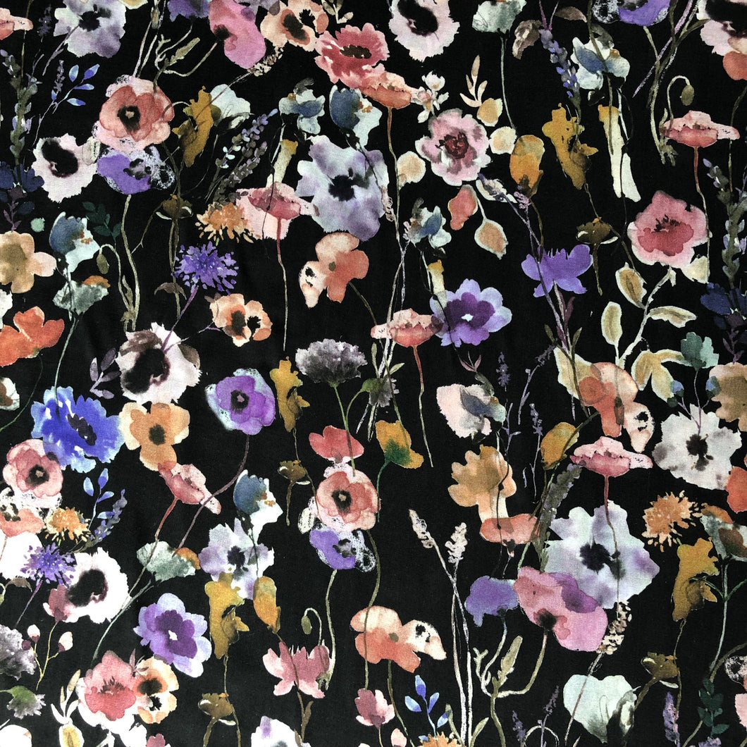 REMNANT 0.93 meter Watercolours Midnight Viscose Dress Fabric