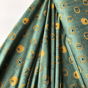 REMNANT 0.93 meter Lion Power Dark Mint Melange Cotton Jersey