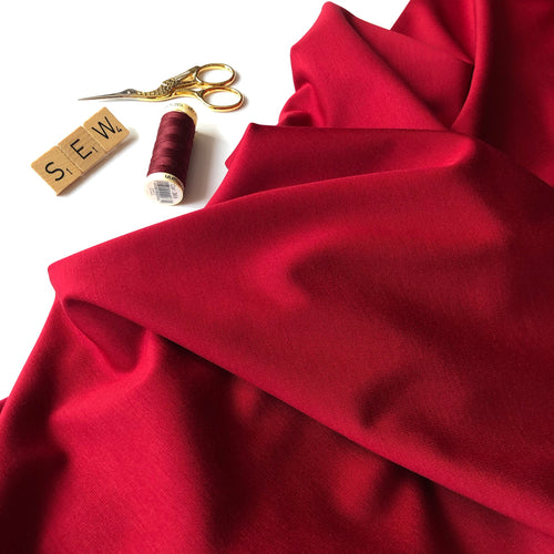 Ruby Red Viscose Modal Ponte Roma Knit Fabric