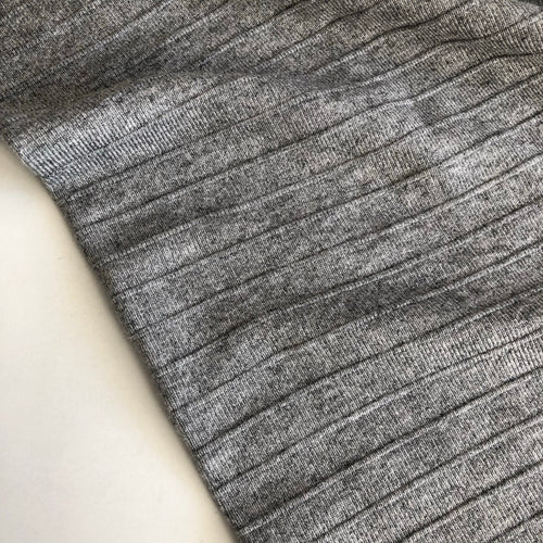 Grey Melange Double Sided Rib Knit Fabric