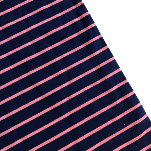 Yarn Dyed Navy/Pink Stripe Looped Back Jersey