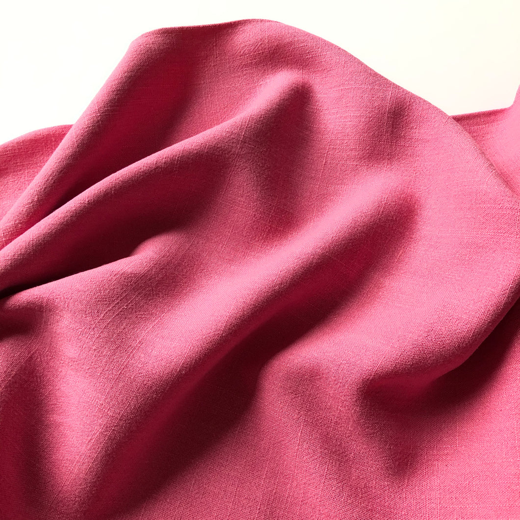 Flow Pink Viscose Linen Blend Dress Fabric