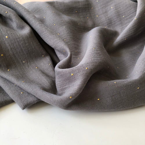 Dew Drop Grey Cotton Double Gauze