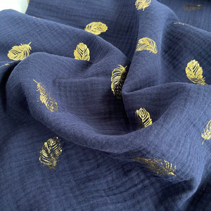 Foil Feathers Marine Cotton Double Gauze