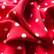 Classic Polka Dot Red Viscose Dress Fabric