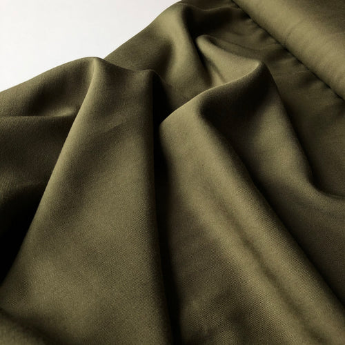 Grandeur Olive Green Viscose Twill Dress Fabric