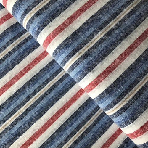 Beach Stripes Blue Linen Cotton Blend Dress Fabric