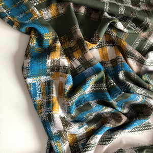Checks Mustard Blue and Khaki Viscose Twill Fabric
