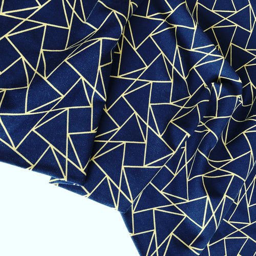 Kaleidoscope Navy and Gold - Cotton Jersey