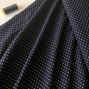 Tiny Polka Dot On Navy Viscose Dress Fabric