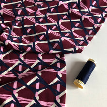 Wine Basket Weave - Cotton Jersey (Wine/ Navy/White)