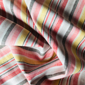 Beach Stripes Pink Linen Cotton Blend Dress Fabric