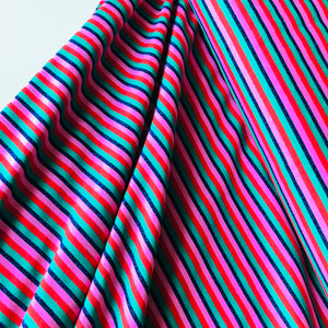 Metallic Small Multi Stripe Pink/Red/Green Cotton Jersey