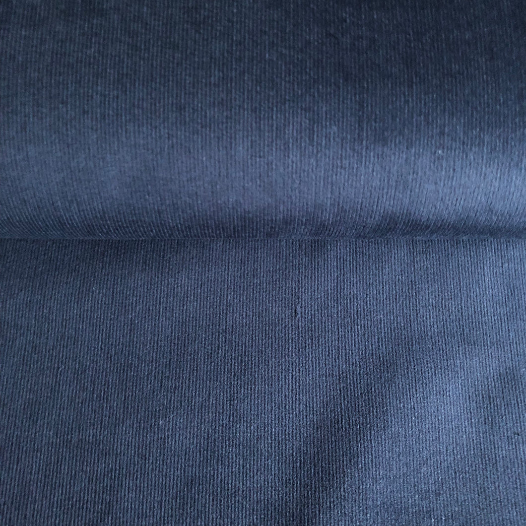 Navy Stretch Cotton Needlecord fabric