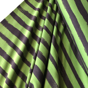 Groovy Stripes Green / Chocolate  Cotton French Terry