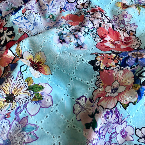 REMNANT 1 meter Summer Fusion Blue Broderie Anglaise Cotton Fabric