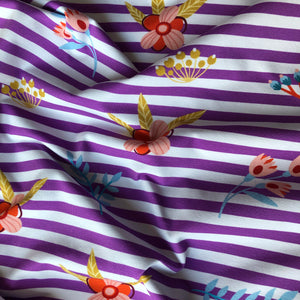 At The Beach - Striped Purple Cotton Jersey