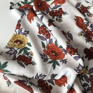 REMNANT 2.61 meters Beautiful Blooms Rust Rayon Dress Fabric