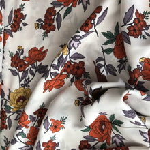 Beautiful Blooms Rust Rayon Dress Fabric