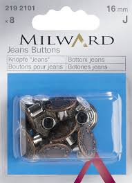 Milward Jeans Buttons  16mm x8