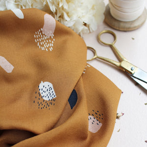 Atelier Brunette - Moonstone Ochre viscose / rayon dress fabric