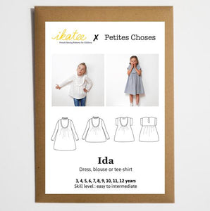 Ikatee - IDA Dress - Blouse - Tee Shirt - Ages 3-12  Paper Sewing Pattern