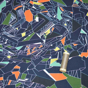 Lady McElroy - Retro Cityscape Navy Cotton Lawn Dress Fabric