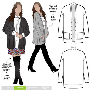 Style ARC - Sabel Boyfriend Knit Cardi (Sizes 18-30)  Sewing Pattern