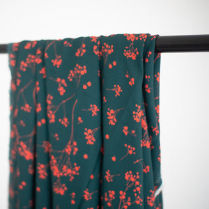 Mind The MAKER - Stalks Teal Viscose Twill Dress Fabric