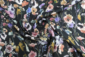 Lady McElroy - Watercolours Midnight Viscose Dress Fabric