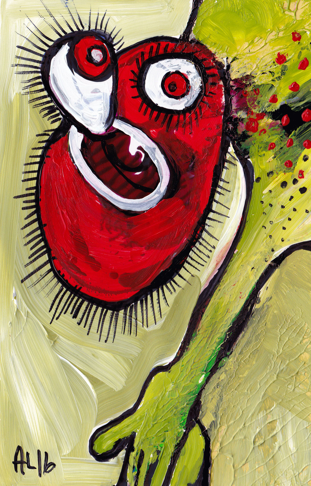 Original Annette Labedzki painting 5x8 inch OLD FREAK on paper mixed media