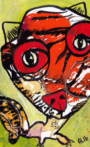 Original Annette Labedzki painting 5x8 in TIGER CAT on paper mixed media