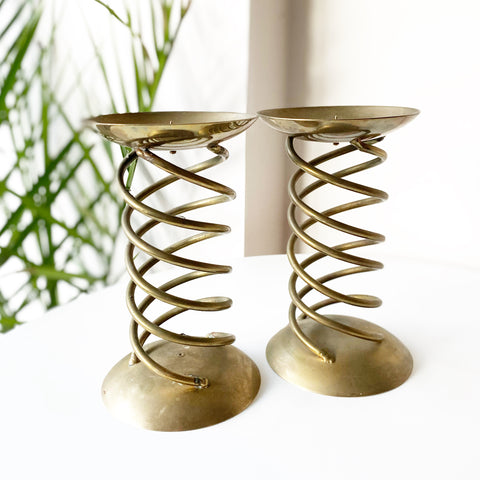 Large Brass Spiral Candle Pillars