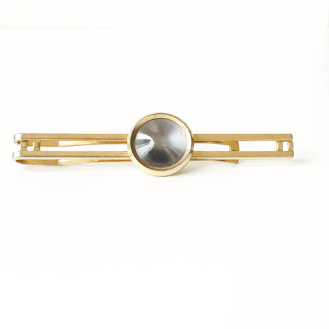 Gold Tone with Grey Stone Vintage Tie Clip