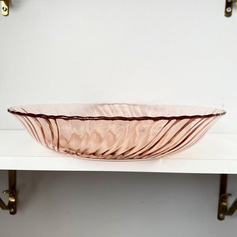 Large Pink Pressed Glass Arcoroc France Bowl